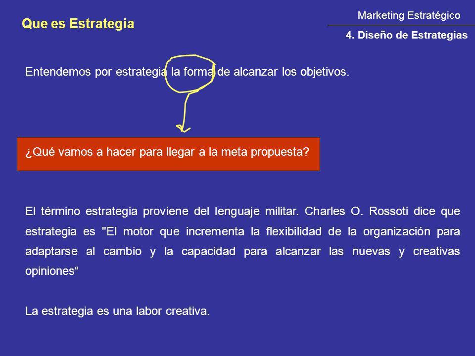 Marketing Estratégico Que es Estrategia 4. Diseño de Estrategias Entendemos por estrategia la forma de alcanzar los objetivos. ¿Qué vamos a hacer para