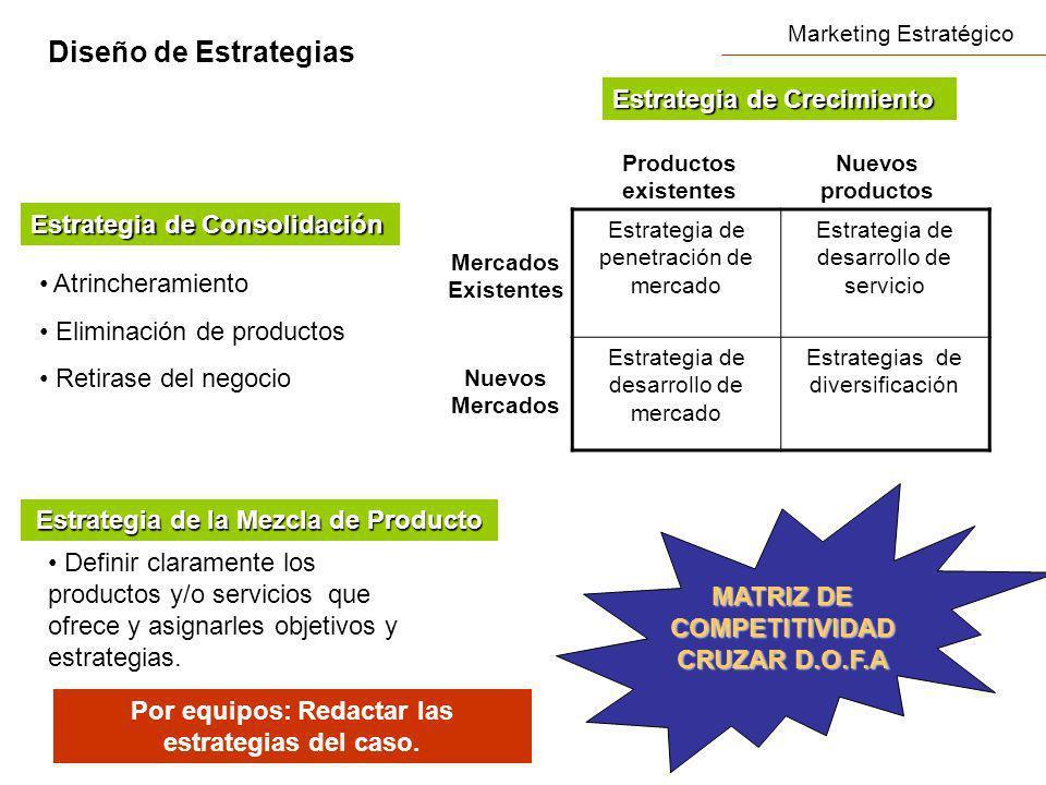 Marketing Estratégico Diseño de Estrategias Estrategia de penetración de mercado Estrategia de desarrollo de servicio Estrategia de desarrollo de merc