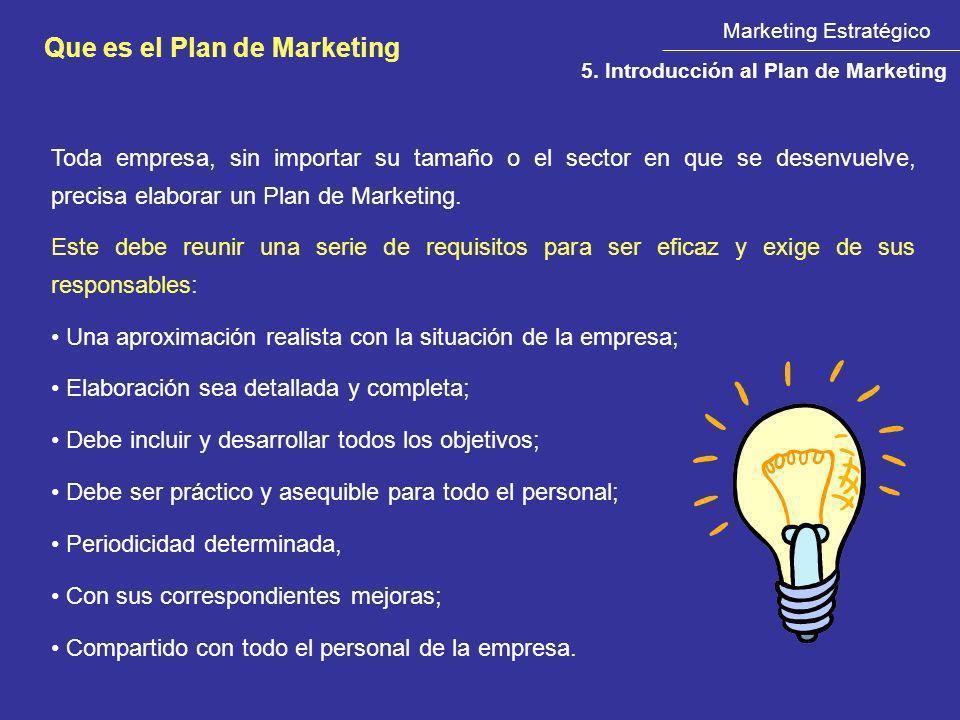 Marketing Estratégico Que es el Plan de Marketing 5. Introducción al Plan de Marketing Toda empresa, sin importar su tamaño o el sector en que se dese