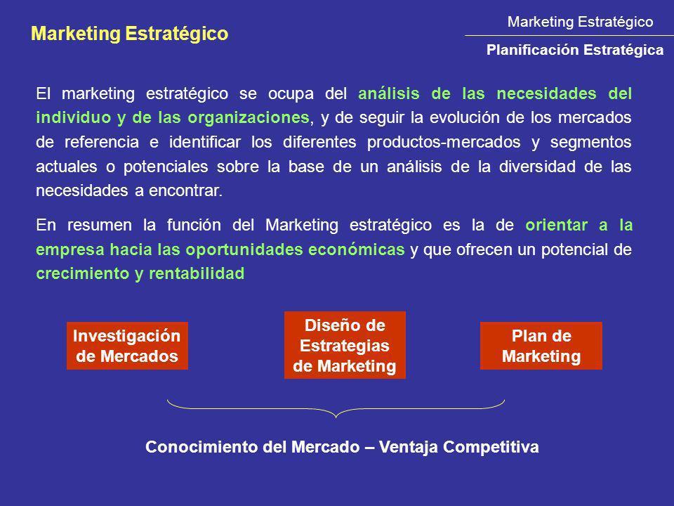 El marketing estratégico se ocupa del análisis de las necesidades del individuo y de las organizaciones, y de seguir la evolución de los mercados de r