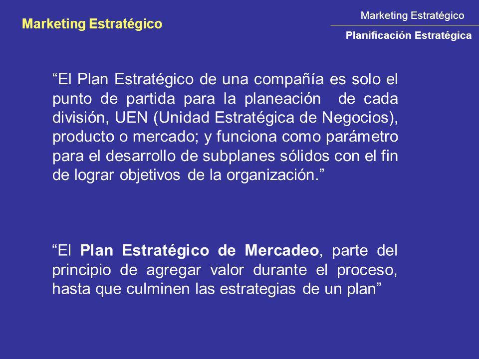 El Plan Estratégico de una compañía es solo el punto de partida para la planeación de cada división, UEN (Unidad Estratégica de Negocios), producto o