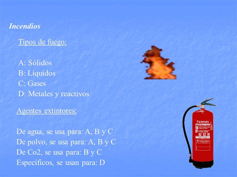 Incendios Tipos de fuego: A: Sólidos B: Líquidos C: Gases D: Metales y reactivos Agentes extintores: De agua, se usa para: A, B y C De polvo, se usa para: A, B y C De Co2, se usa para: B y C Específicos, se usan para: D