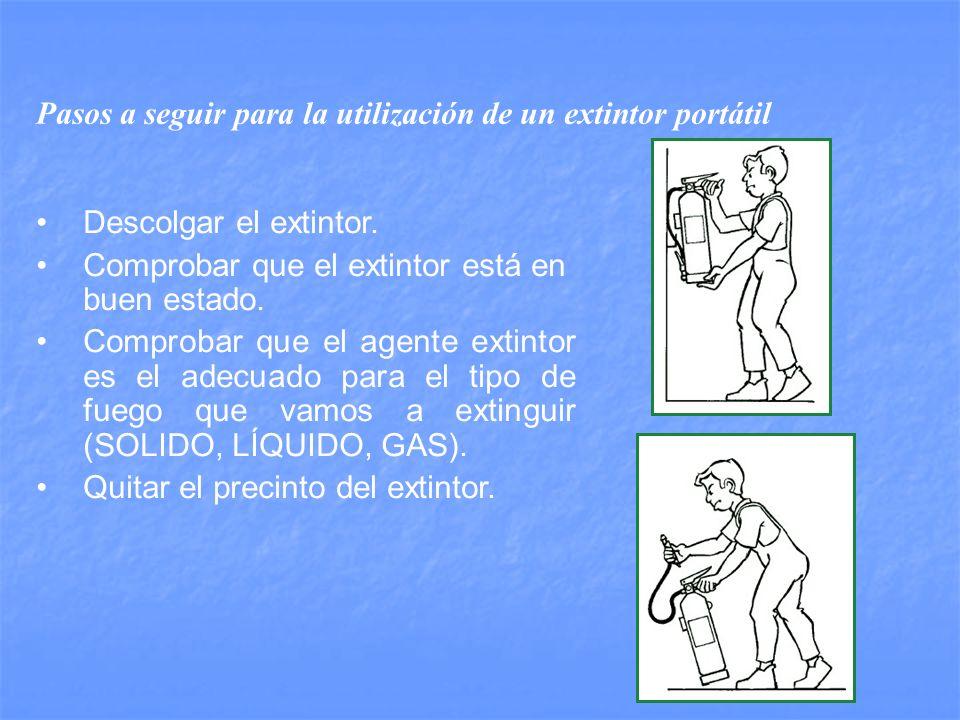 Pasos a seguir para la utilización de un extintor portátil Descolgar el extintor.