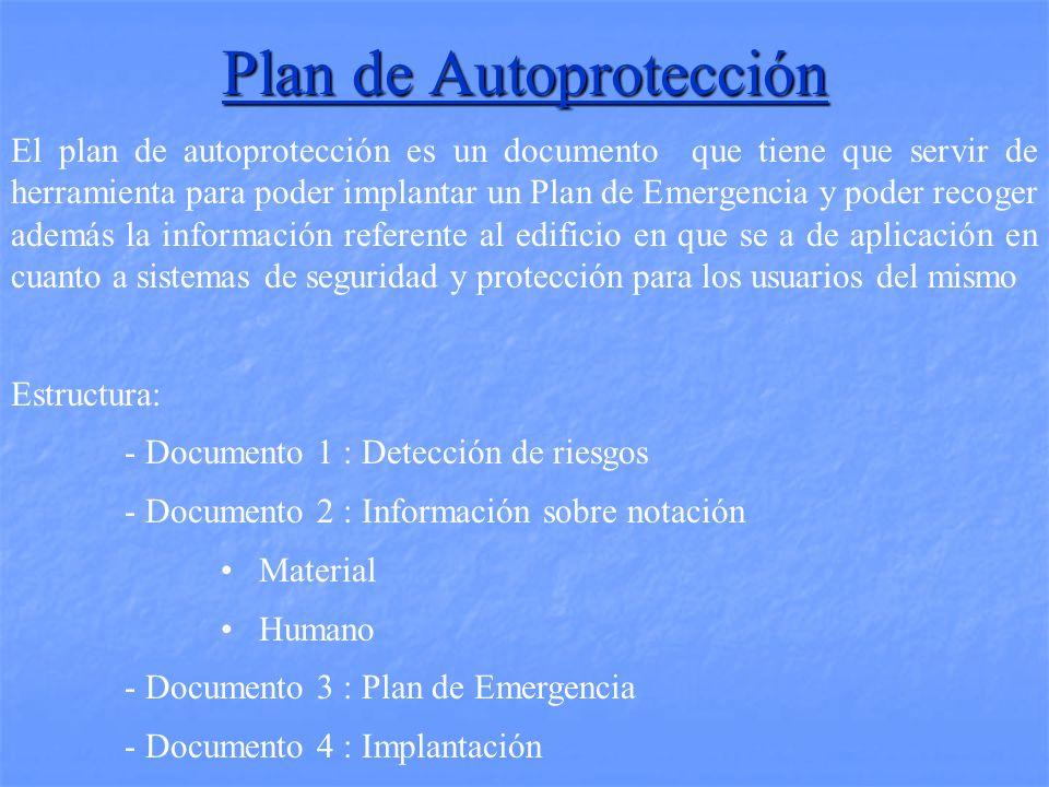 El plan de autoprotección es un documento que tiene que servir de herramienta para poder implantar un Plan de Emergencia y poder recoger además la información referente al edificio en que se a de aplicación en cuanto a sistemas de seguridad y protección para los usuarios del mismo Estructura: - Documento 1 : Detección de riesgos - Documento 2 : Información sobre notación Material Humano - Documento 3 : Plan de Emergencia - Documento 4 : Implantación Plan de Autoprotección