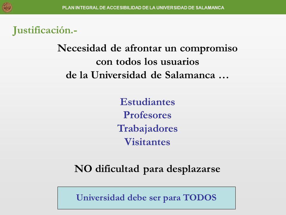 Justificación.- Necesidad de afrontar un compromiso con todos los usuarios de la Universidad de Salamanca … Estudiantes Profesores Trabajadores Visita