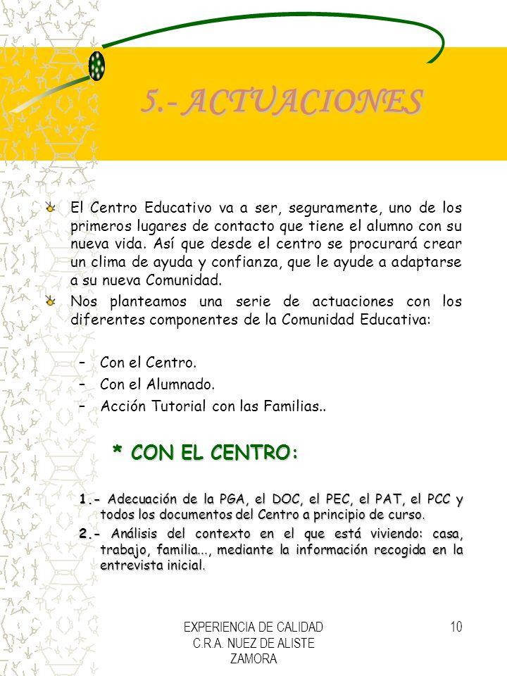 EXPERIENCIA DE CALIDAD C.R.A. NUEZ DE ALISTE ZAMORA 10 5.- ACTUACIONES El Centro Educativo va a ser, seguramente, uno de los primeros lugares de conta