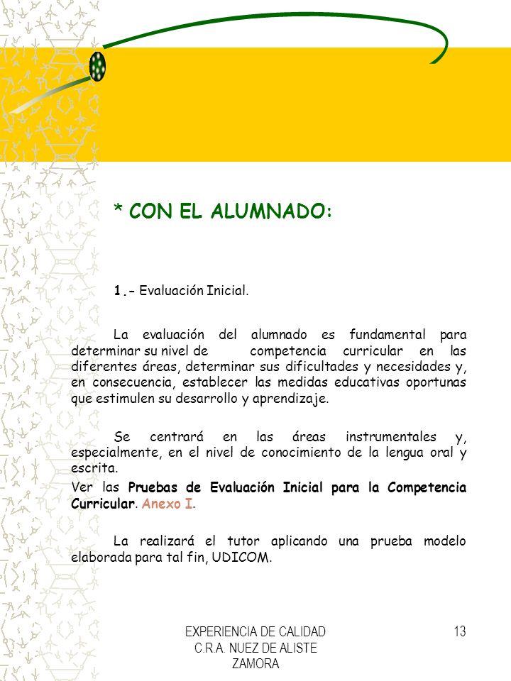 EXPERIENCIA DE CALIDAD C.R.A. NUEZ DE ALISTE ZAMORA 13 * CON EL ALUMNADO: 1.- Evaluación Inicial. La evaluación del alumnado es fundamental para deter