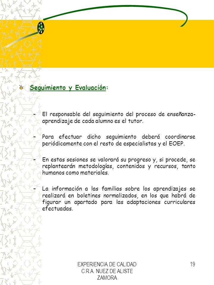 EXPERIENCIA DE CALIDAD C.R.A. NUEZ DE ALISTE ZAMORA 19 Seguimiento y Evaluación: –El responsable del seguimiento del proceso de enseñanza- aprendizaje