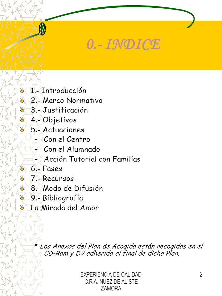 EXPERIENCIA DE CALIDAD C.R.A. NUEZ DE ALISTE ZAMORA 2 0.- INDICE 1.- Introducción 2.- Marco Normativo 3.- Justificación 4.- Objetivos 5.- Actuaciones