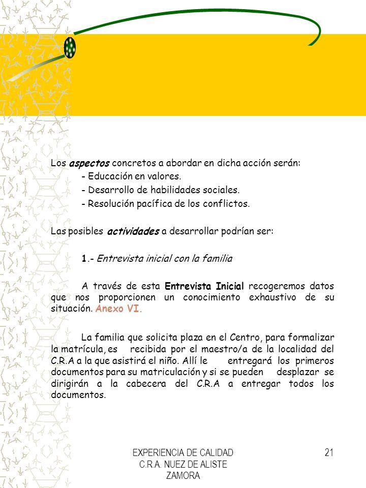 EXPERIENCIA DE CALIDAD C.R.A. NUEZ DE ALISTE ZAMORA 21 Los aspectos concretos a abordar en dicha acción serán: - Educación en valores. - Desarrollo de