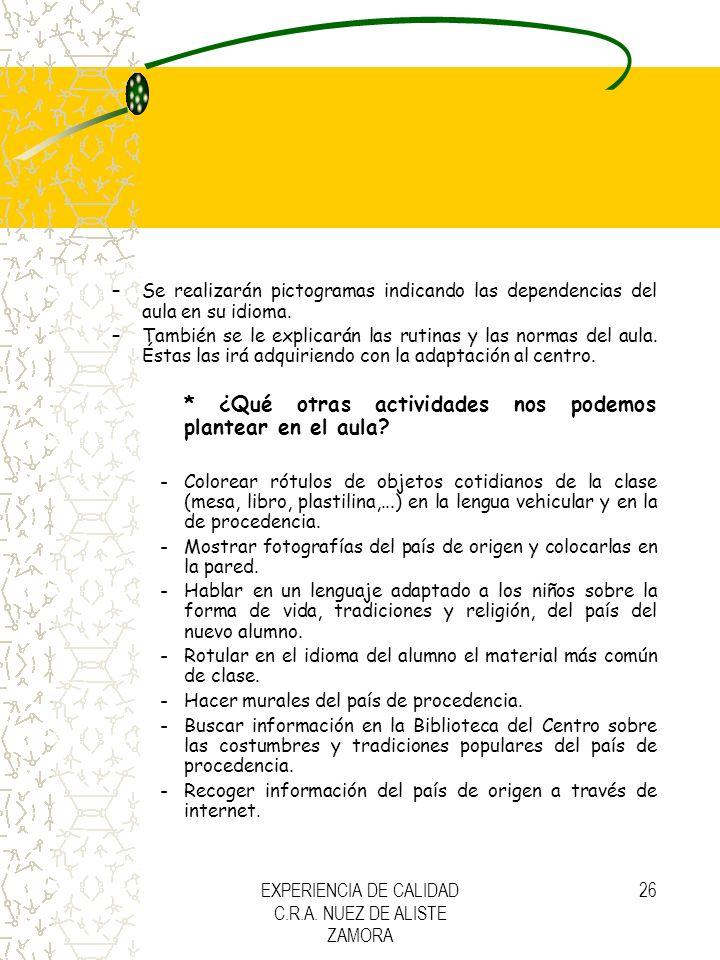 EXPERIENCIA DE CALIDAD C.R.A. NUEZ DE ALISTE ZAMORA 26 –Se realizarán pictogramas indicando las dependencias del aula en su idioma. –También se le exp