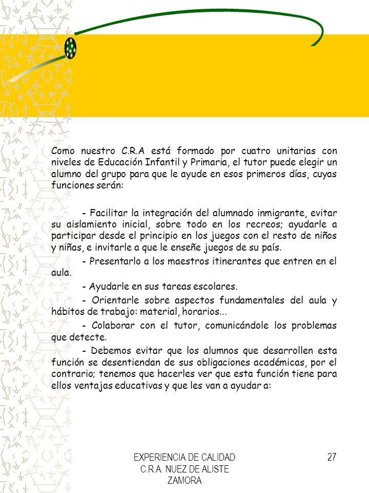 EXPERIENCIA DE CALIDAD C.R.A. NUEZ DE ALISTE ZAMORA 27 Como nuestro C.R.A está formado por cuatro unitarias con niveles de Educación Infantil y Primar