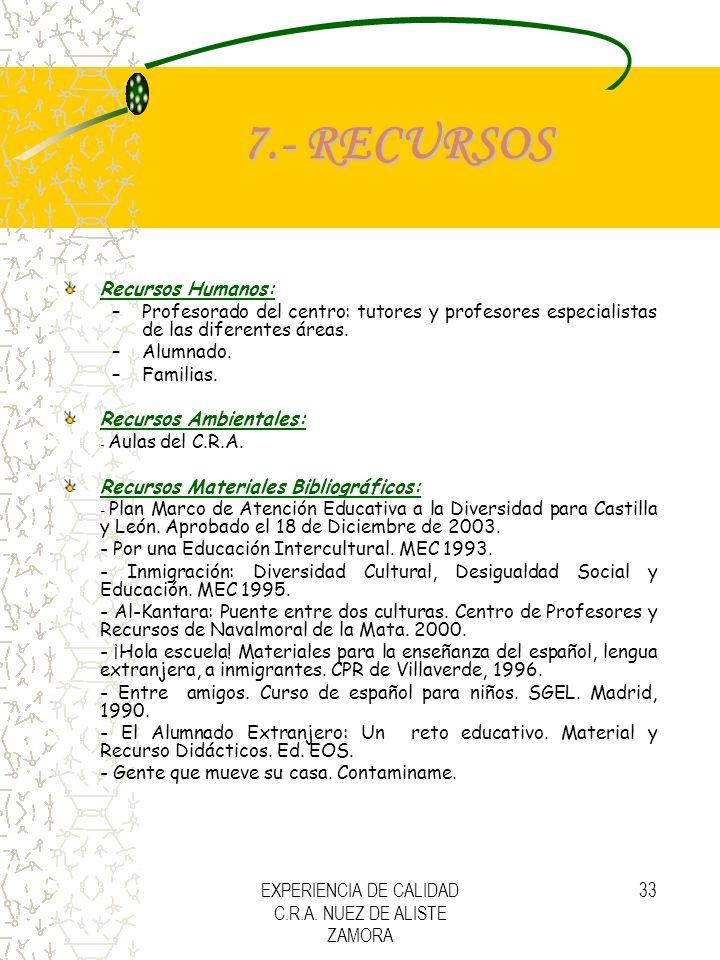 EXPERIENCIA DE CALIDAD C.R.A. NUEZ DE ALISTE ZAMORA 33 7.- RECURSOS Recursos Humanos: –Profesorado del centro: tutores y profesores especialistas de l