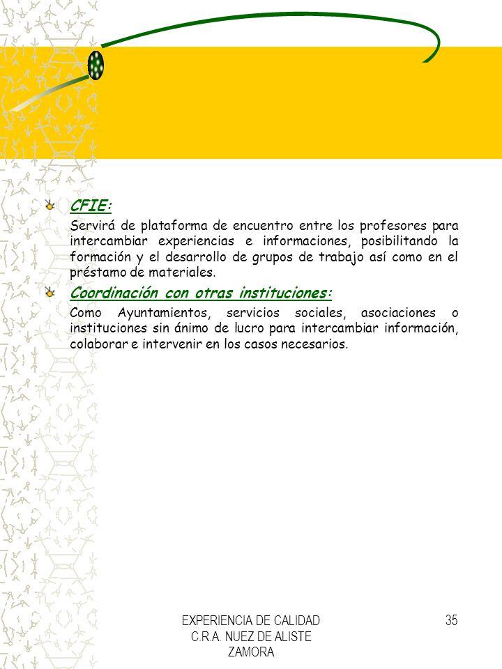 EXPERIENCIA DE CALIDAD C.R.A. NUEZ DE ALISTE ZAMORA 35 CFIE: Servirá de plataforma de encuentro entre los profesores para intercambiar experiencias e