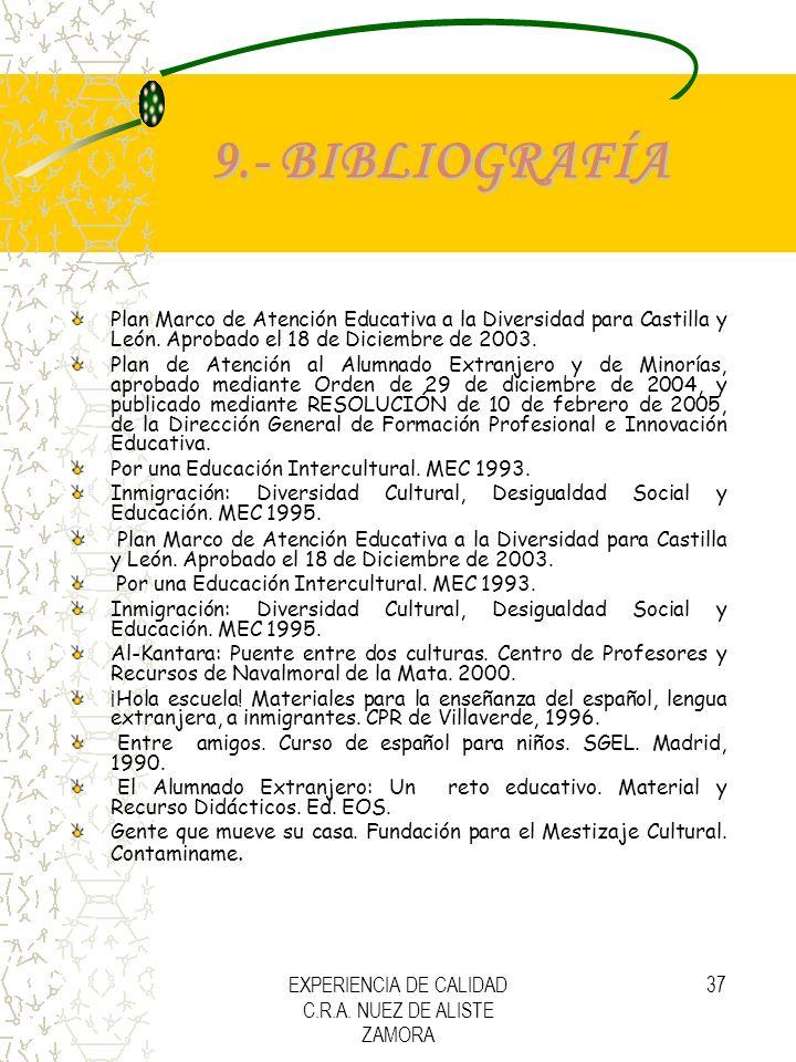 EXPERIENCIA DE CALIDAD C.R.A. NUEZ DE ALISTE ZAMORA 37 9.- BIBLIOGRAFÍA Plan Marco de Atención Educativa a la Diversidad para Castilla y León. Aprobad