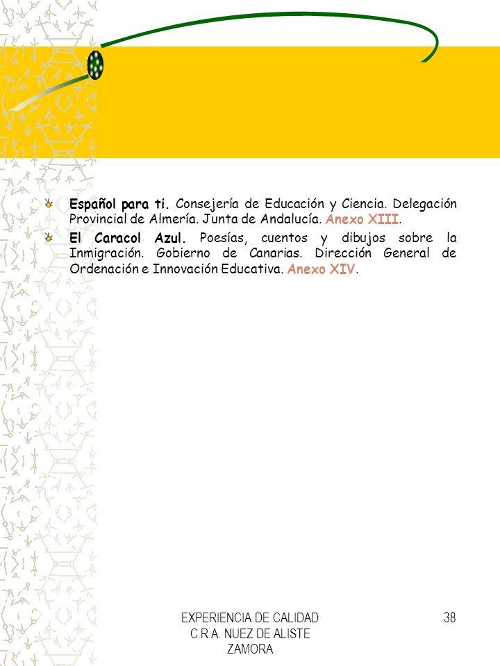 EXPERIENCIA DE CALIDAD C.R.A. NUEZ DE ALISTE ZAMORA 38 Español para ti. Consejería de Educación y Ciencia. Delegación Provincial de Almería. Junta de