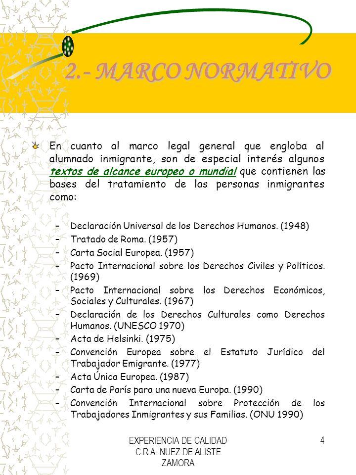 EXPERIENCIA DE CALIDAD C.R.A. NUEZ DE ALISTE ZAMORA 4 2.- MARCO NORMATIVO En cuanto al marco legal general que engloba al alumnado inmigrante, son de