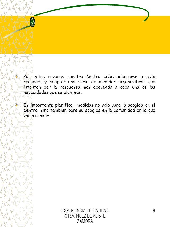 EXPERIENCIA DE CALIDAD C.R.A. NUEZ DE ALISTE ZAMORA 8 Por estas razones nuestro Centro debe adecuarse a esta realidad, y adoptar una serie de medidas