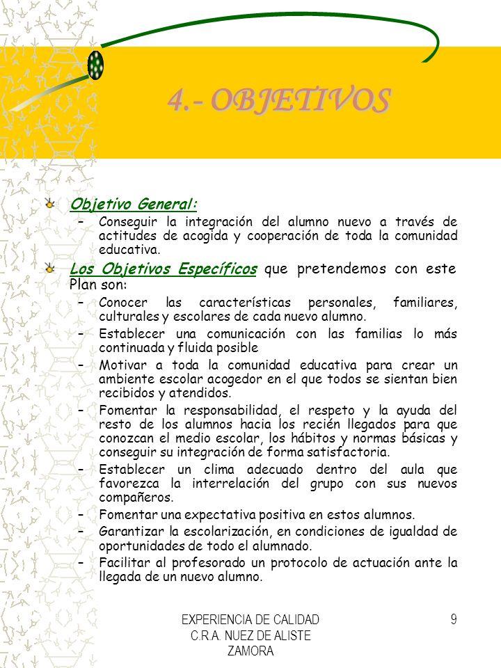 EXPERIENCIA DE CALIDAD C.R.A. NUEZ DE ALISTE ZAMORA 9 4.- OBJETIVOS Objetivo General: –Conseguir la integración del alumno nuevo a través de actitudes
