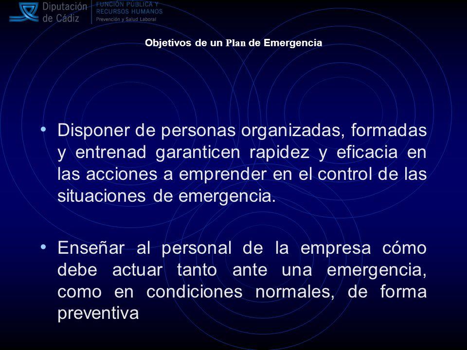 Objetivos de un Plan de Emergencia Disponer de personas organizadas, formadas y entrenad garanticen rapidez y eficacia en las acciones a emprender en el control de las situaciones de emergencia.