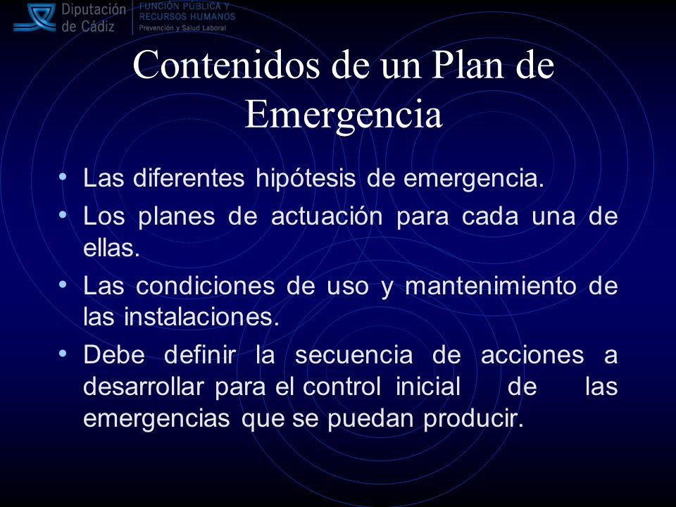 Contenidos de un Plan de Emergencia Las diferentes hipótesis de emergencia.