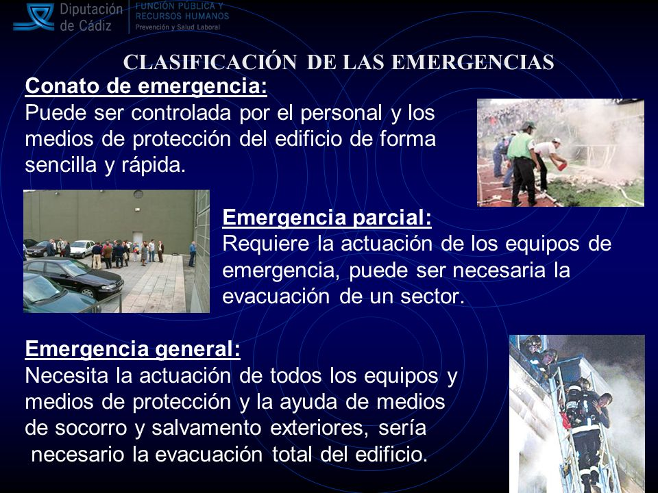 CLASIFICACIÓN DE LAS EMERGENCIAS Conato de emergencia: Puede ser controlada por el personal y los medios de protección del edificio de forma sencilla y rápida.