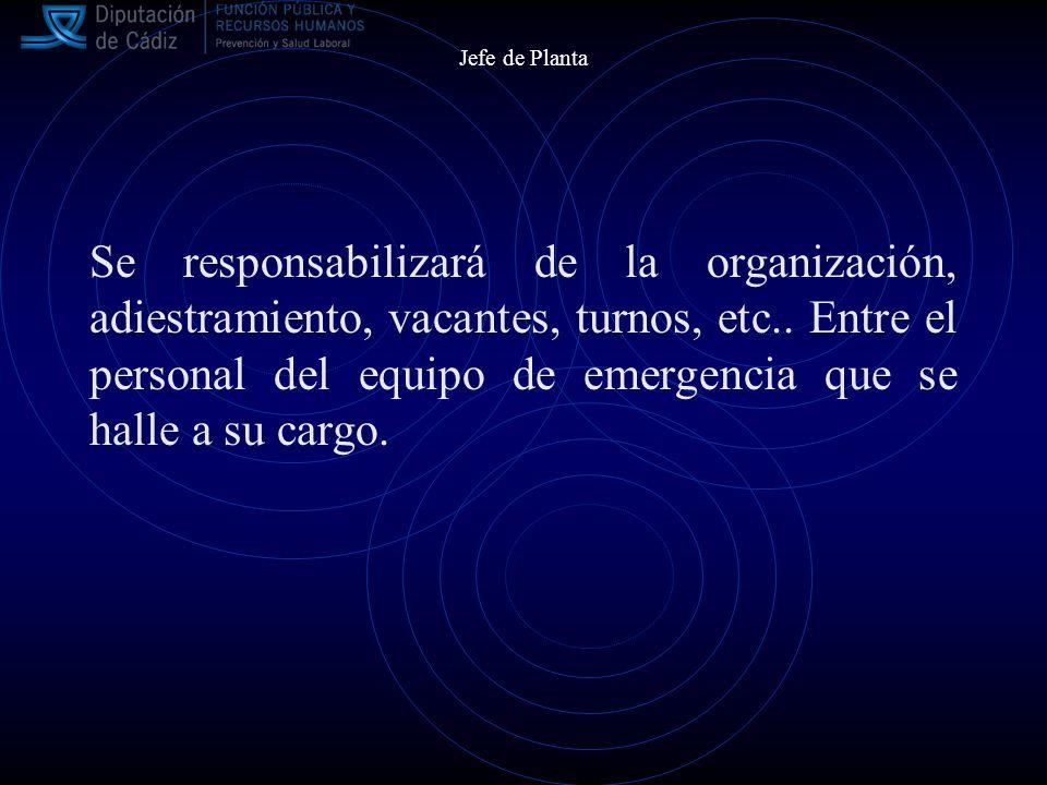 Jefe de Planta Se responsabilizará de la organización, adiestramiento, vacantes, turnos, etc..