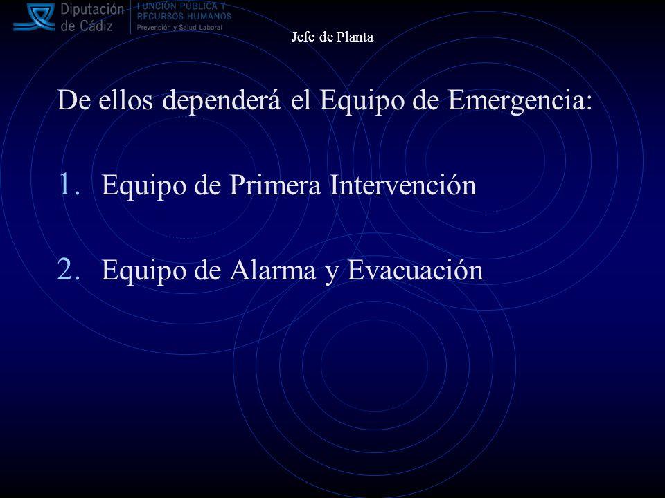Jefe de Planta De ellos dependerá el Equipo de Emergencia: 1.