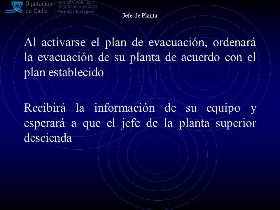 Jefe de Planta Al activarse el plan de evacuación, ordenará la evacuación de su planta de acuerdo con el plan establecido Recibirá la información de su equipo y esperará a que el jefe de la planta superior descienda
