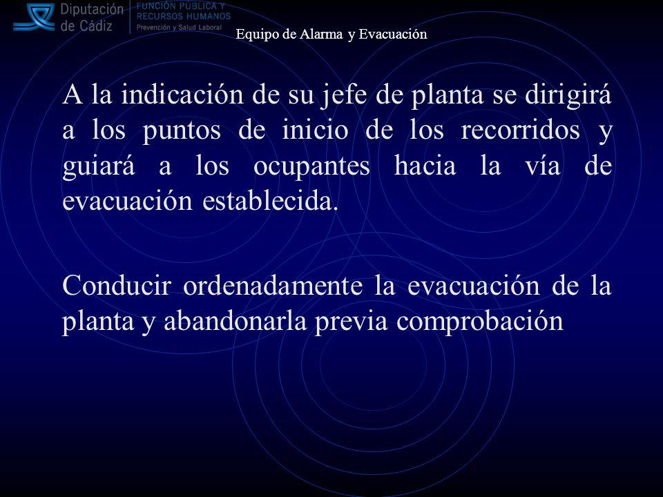 Equipo de Alarma y Evacuación A la indicación de su jefe de planta se dirigirá a los puntos de inicio de los recorridos y guiará a los ocupantes hacia la vía de evacuación establecida.