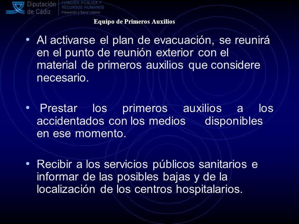 Al activarse el plan de evacuación, se reunirá en el punto de reunión exterior con el material de primeros auxilios que considere necesario.