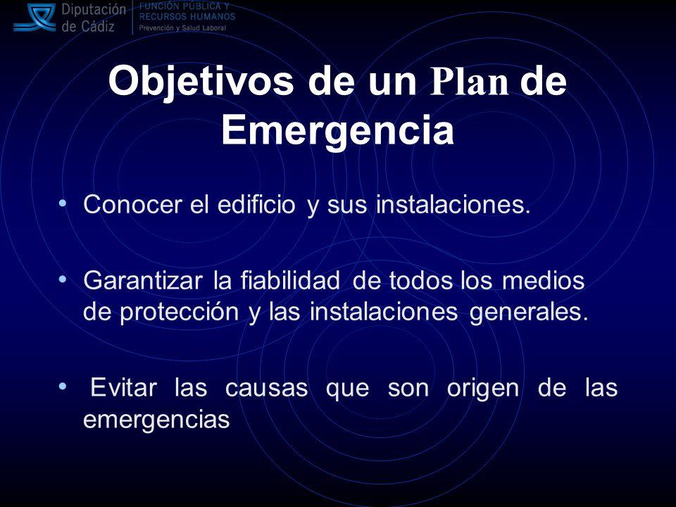 Objetivos de un Plan de Emergencia Conocer el edificio y sus instalaciones.