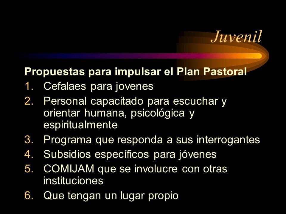 Juvenil Propuestas para impulsar el Plan Pastoral 1.Cefalaes para jovenes 2.Personal capacitado para escuchar y orientar humana, psicológica y espirit