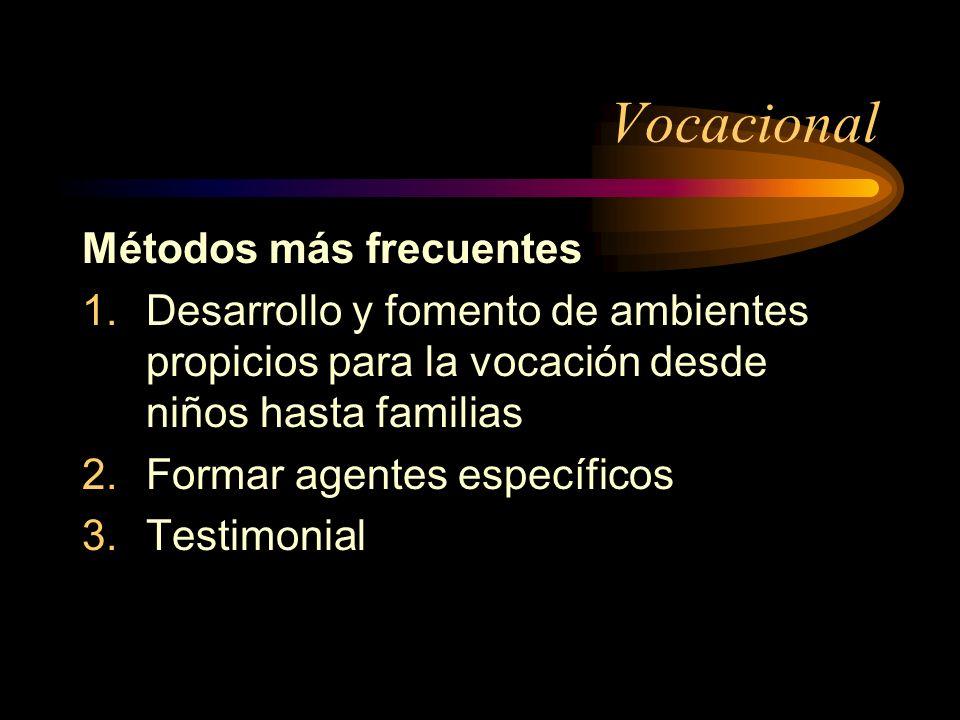 Vocacional Métodos más frecuentes 1.Desarrollo y fomento de ambientes propicios para la vocación desde niños hasta familias 2.Formar agentes específicos 3.Testimonial