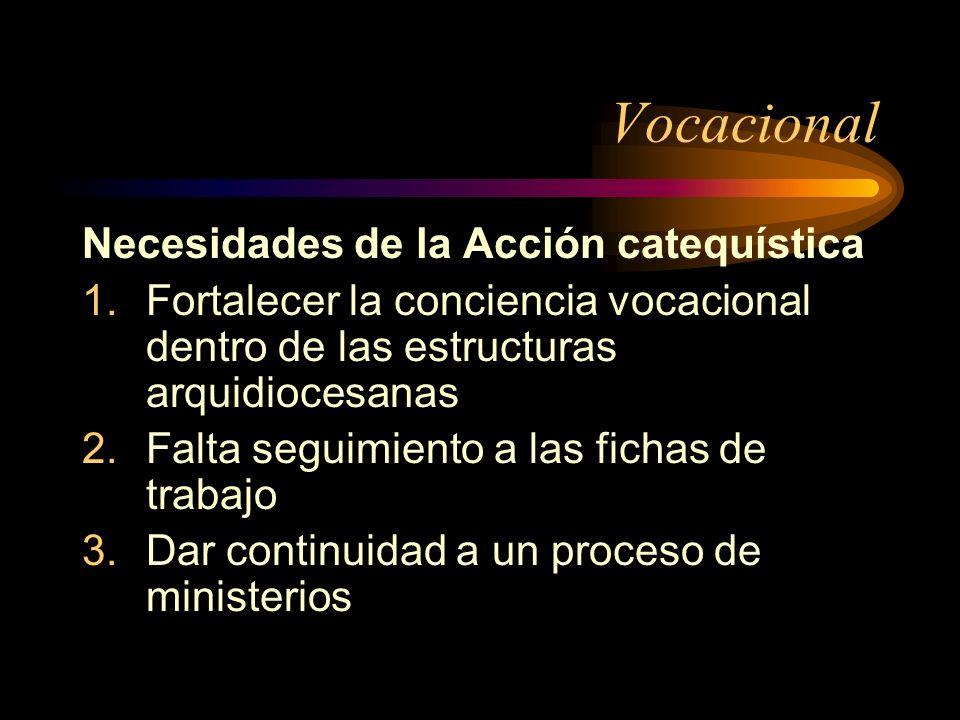 Vocacional Necesidades de la Acción catequística 1.Fortalecer la conciencia vocacional dentro de las estructuras arquidiocesanas 2.Falta seguimiento a las fichas de trabajo 3.Dar continuidad a un proceso de ministerios