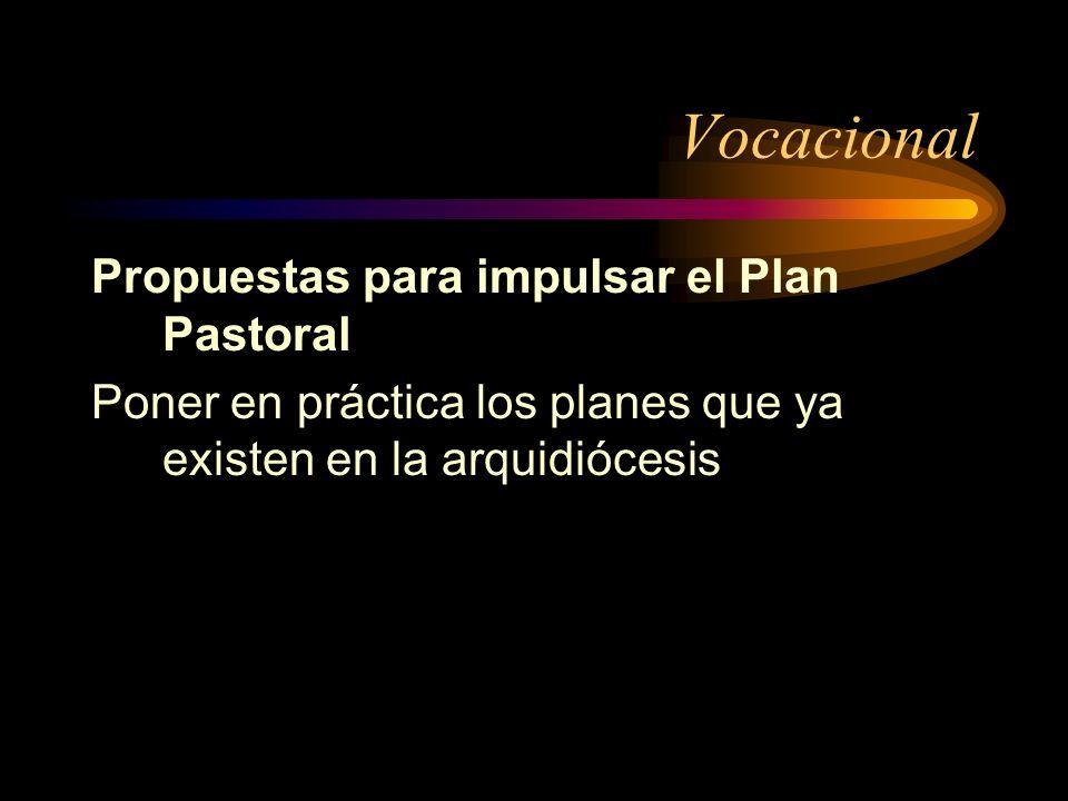 Vocacional Propuestas para impulsar el Plan Pastoral Poner en práctica los planes que ya existen en la arquidiócesis