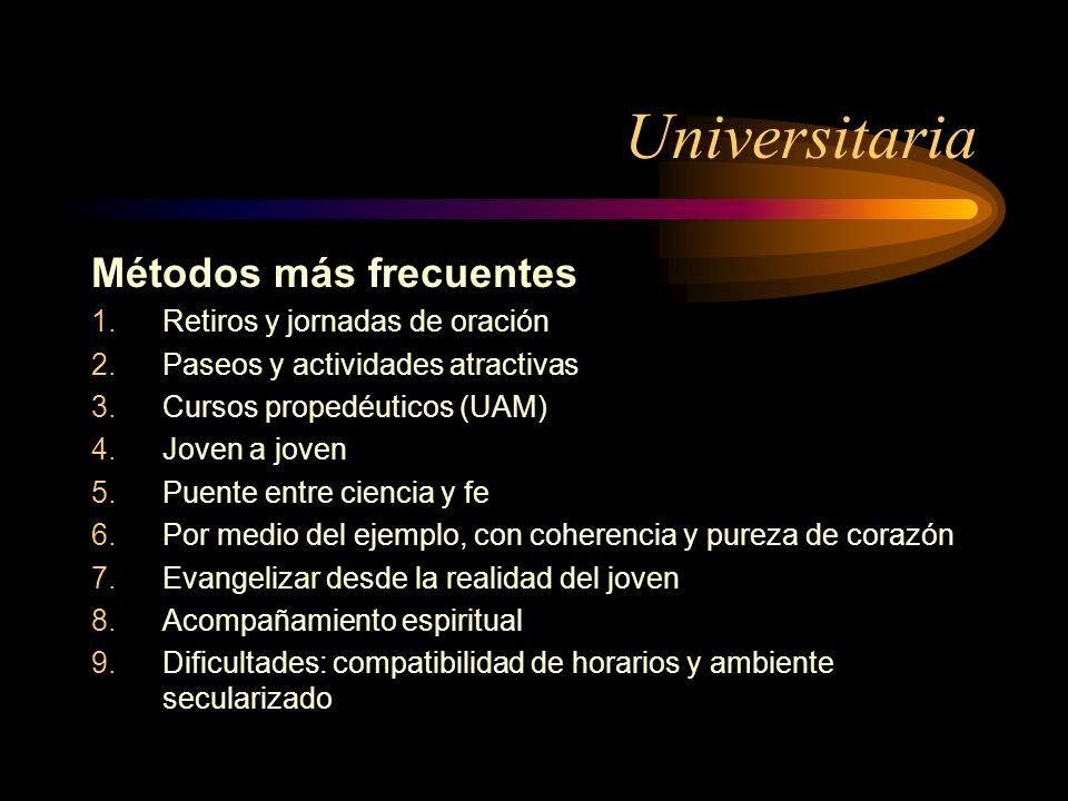 Universitaria Métodos más frecuentes 1.Retiros y jornadas de oración 2.Paseos y actividades atractivas 3.Cursos propedéuticos (UAM) 4.Joven a joven 5.