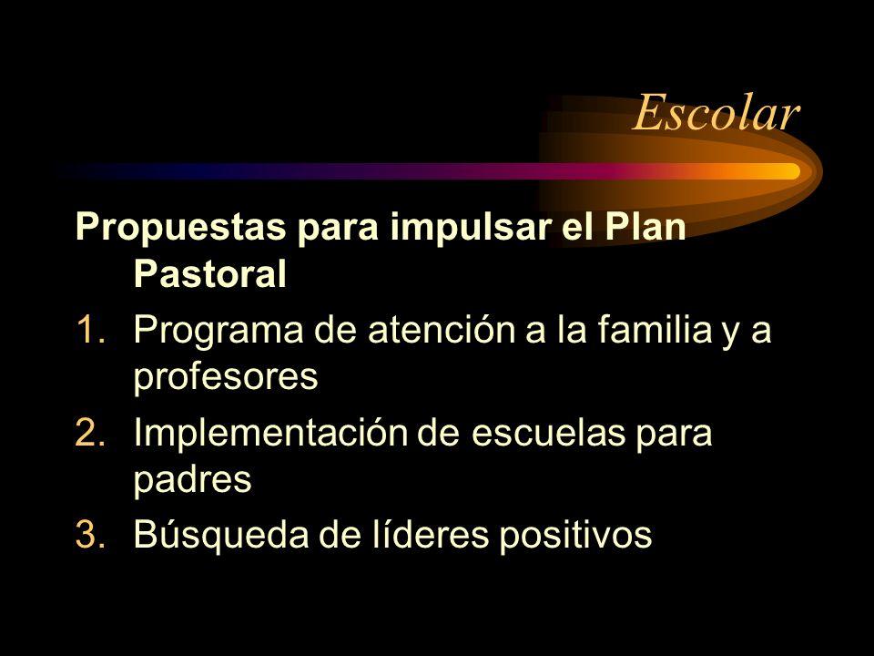 Escolar Propuestas para impulsar el Plan Pastoral 1.Programa de atención a la familia y a profesores 2.Implementación de escuelas para padres 3.Búsqueda de líderes positivos