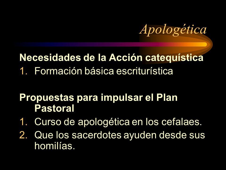 Apologética Necesidades de la Acción catequística 1.Formación básica escriturística Propuestas para impulsar el Plan Pastoral 1.Curso de apologética e