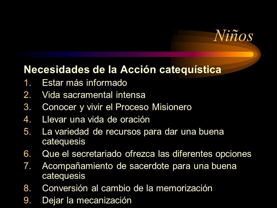 Niños Necesidades de la Acción catequística 1.Estar más informado 2.Vida sacramental intensa 3.Conocer y vivir el Proceso Misionero 4.Llevar una vida