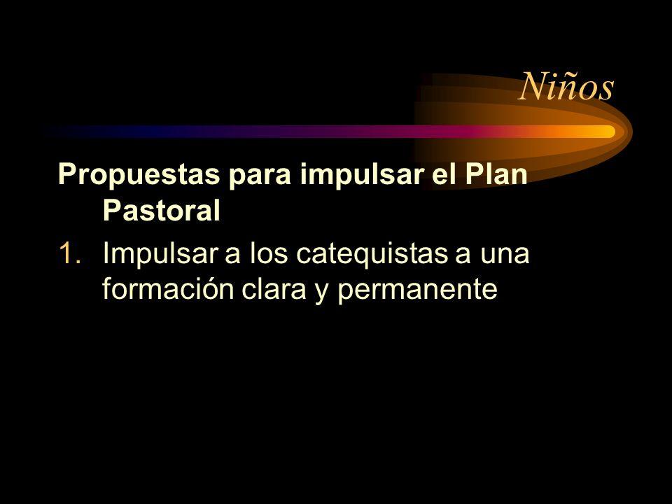 Niños Propuestas para impulsar el Plan Pastoral 1.Impulsar a los catequistas a una formación clara y permanente