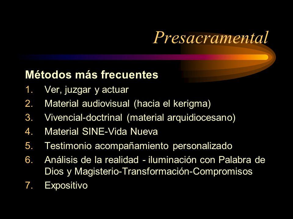Presacramental Métodos más frecuentes 1.Ver, juzgar y actuar 2.Material audiovisual (hacia el kerigma) 3.Vivencial-doctrinal (material arquidiocesano)