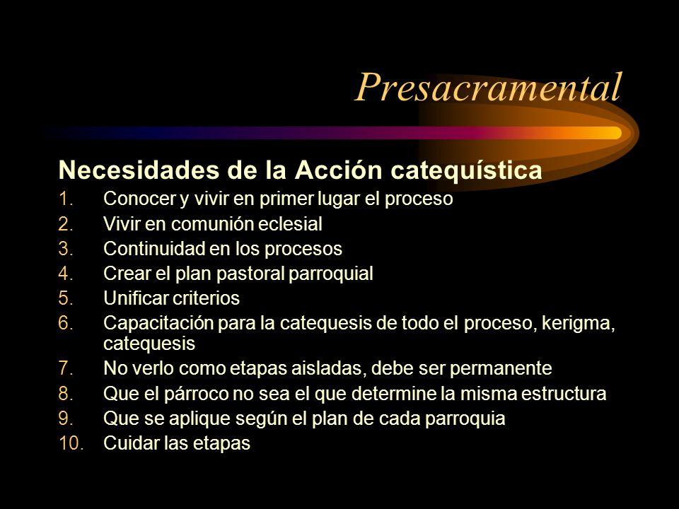 Presacramental Necesidades de la Acción catequística 1.Conocer y vivir en primer lugar el proceso 2.Vivir en comunión eclesial 3.Continuidad en los pr