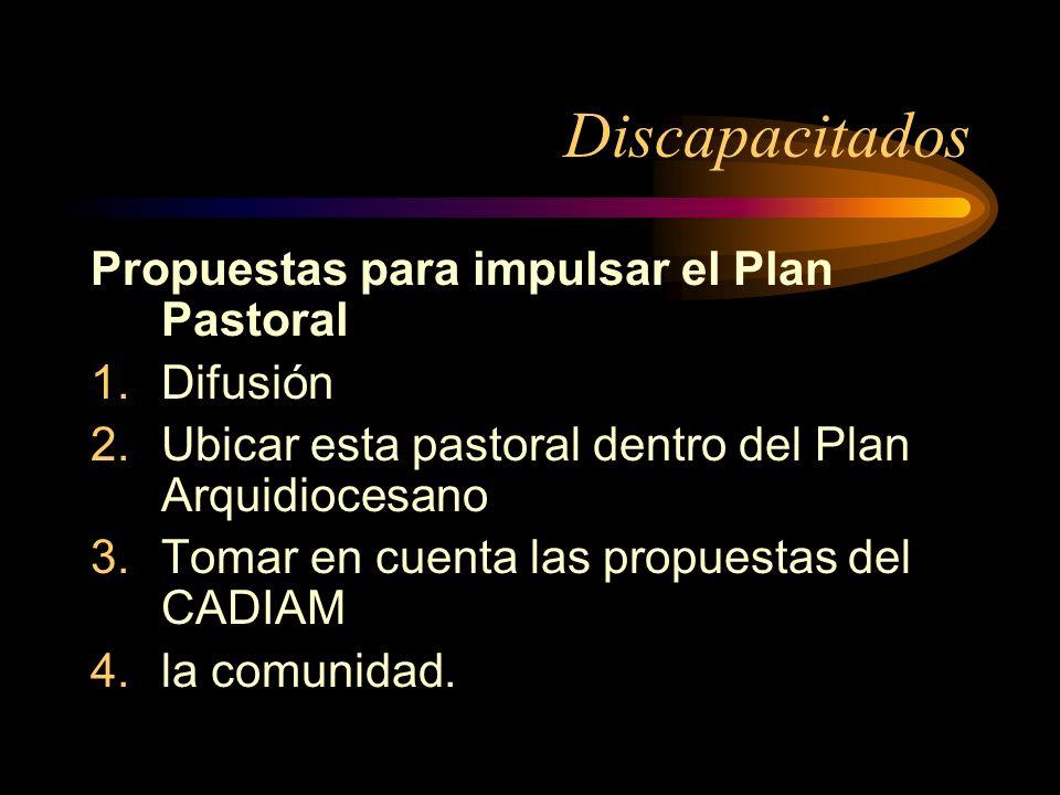 Discapacitados Propuestas para impulsar el Plan Pastoral 1.Difusión 2.Ubicar esta pastoral dentro del Plan Arquidiocesano 3.Tomar en cuenta las propuestas del CADIAM 4.la comunidad.