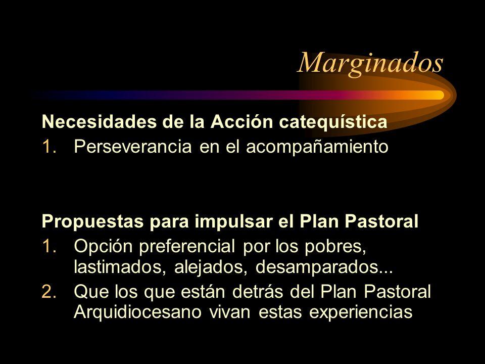 Marginados Necesidades de la Acción catequística 1.Perseverancia en el acompañamiento Propuestas para impulsar el Plan Pastoral 1.Opción preferencial por los pobres, lastimados, alejados, desamparados...