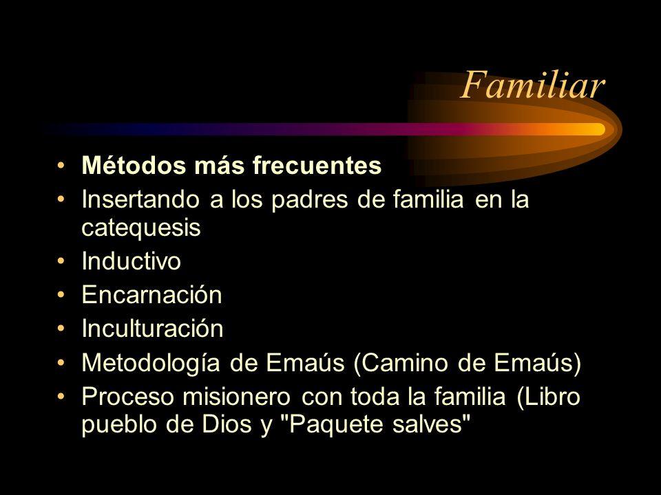 Familiar Métodos más frecuentes Insertando a los padres de familia en la catequesis Inductivo Encarnación Inculturación Metodología de Emaús (Camino de Emaús) Proceso misionero con toda la familia (Libro pueblo de Dios y Paquete salves