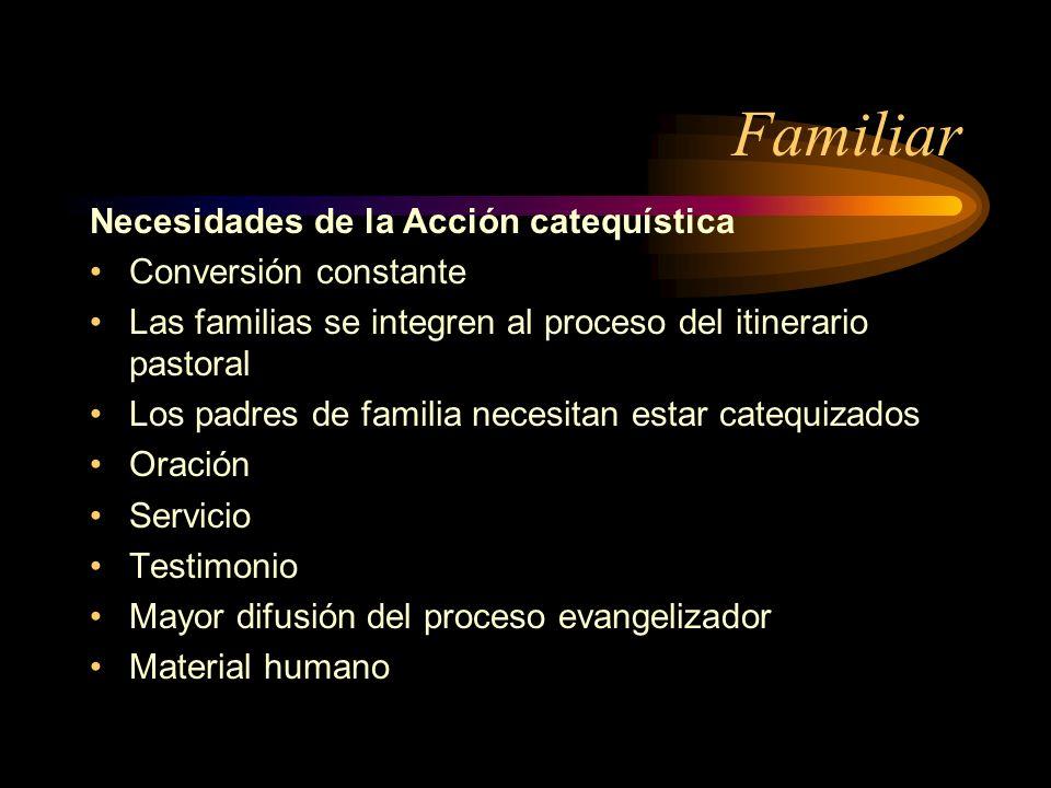 Familiar Necesidades de la Acción catequística Conversión constante Las familias se integren al proceso del itinerario pastoral Los padres de familia