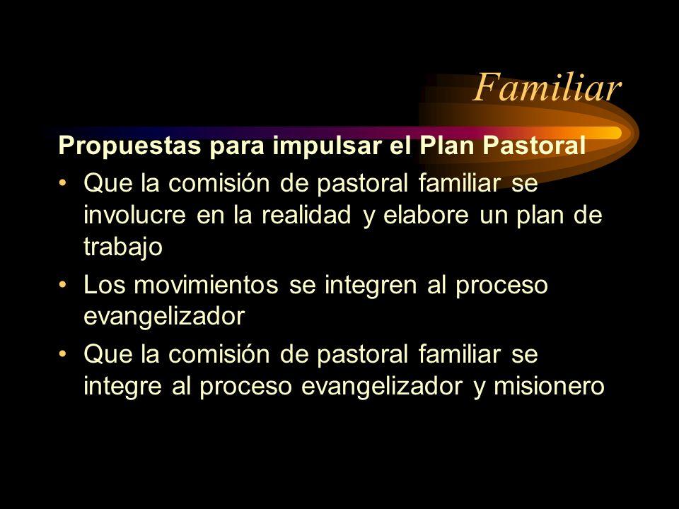 Familiar Propuestas para impulsar el Plan Pastoral Que la comisión de pastoral familiar se involucre en la realidad y elabore un plan de trabajo Los movimientos se integren al proceso evangelizador Que la comisión de pastoral familiar se integre al proceso evangelizador y misionero