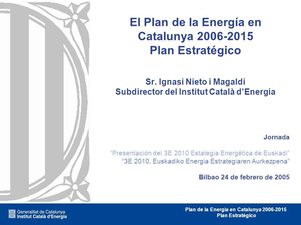 32 Plan de la Energía en Catalunya 2006-2015 Plan Estratégico PLAN DE LA ENERGÍA 2006 - 2015 Plan de Eficiencia Energética Plan de Energías Renovables Plan de Infraestructuras Plan de I+D+I Fuente: ICAEN El Plan de la Energía EL PLAN DE LA ENERGÍA