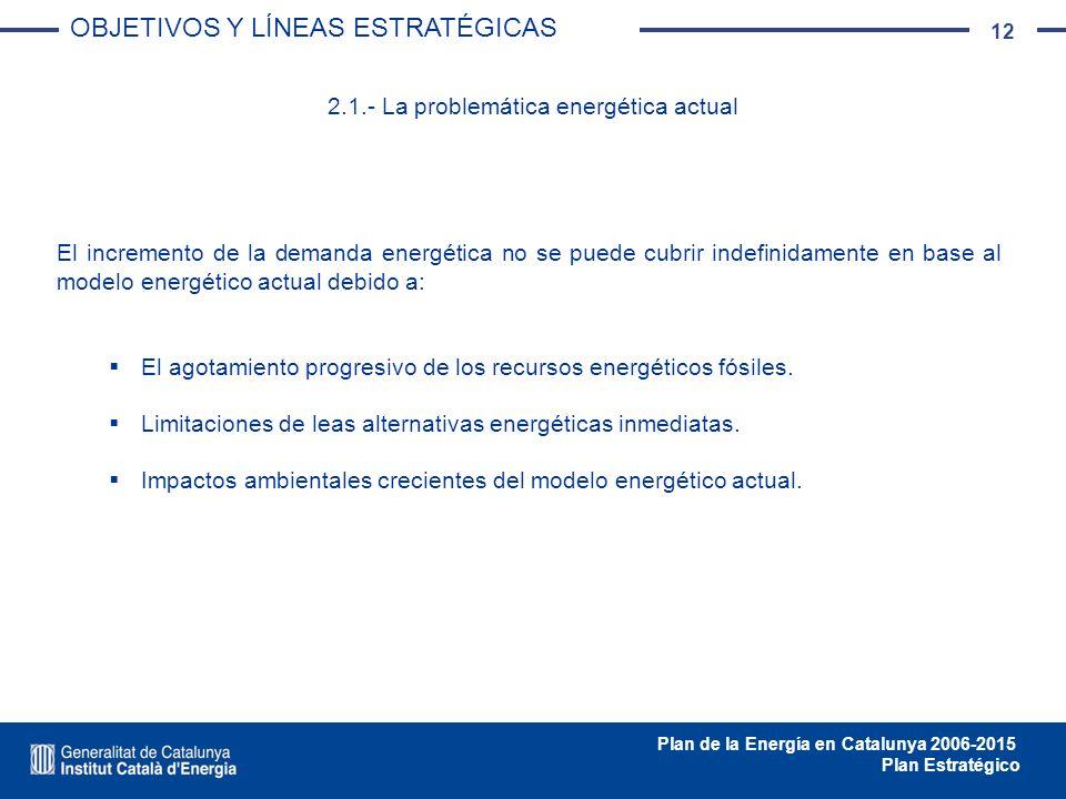 12 Plan de la Energía en Catalunya 2006-2015 Plan Estratégico 2.1.- La problemática energética actual El incremento de la demanda energética no se pue
